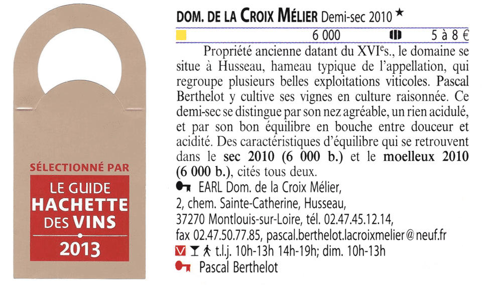 Article Guide Hachette 2013 Berthelot La Croix Mélier